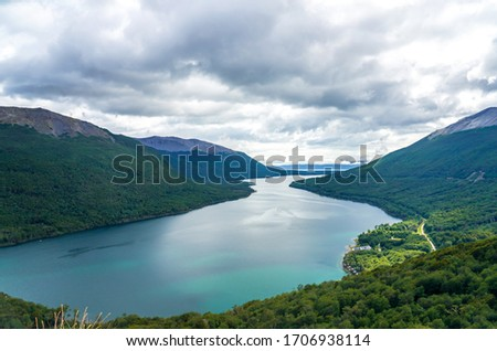 View of Escondido Lake from Paso Garibaldi in Tierra Del Fuego, Argentina. Located at National Route 3, Pass Garibaldi go across the Andes with great lookout of the Escondido Lake Royalty-Free Stock Photo #1706938114