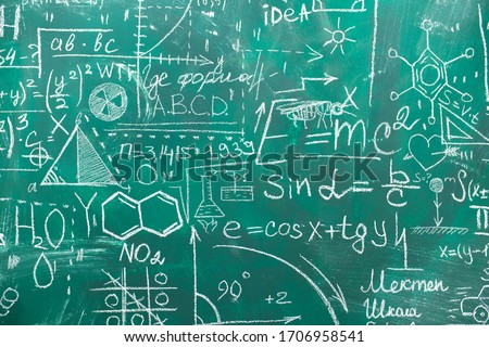 School chalk board is painted with different formulas and signs from the school curriculum. A green blackboard is drawn in chalk as a background. The concept of knowledge and learning. long banner. #1706958541