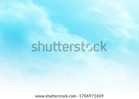 Blue sky with white cloud. Blue background. The summer sky is colorful clearing day and beautiful nature in the morning. for backdrop decorative and wallpaper design. The perfect sky background. #1706971609