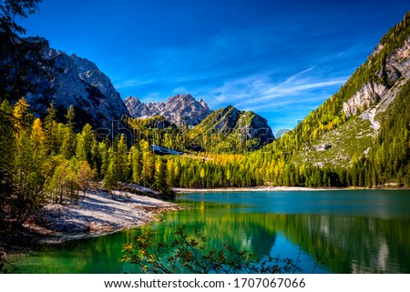 Braies Lake, Dolomites, Trentino Alto Adige, Italy Royalty-Free Stock Photo #1707067066