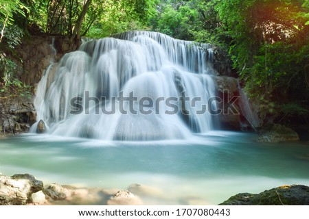 Huai Mae Khamin Waterfall, Kanchanaburi Royalty-Free Stock Photo #1707080443