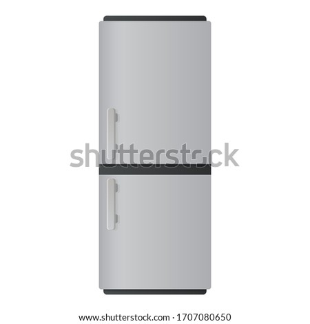 Fridge flat illustration. Front view of refrigerator. Vector.  #1707080650