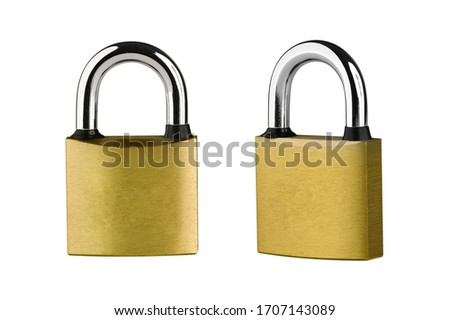 PADLOCK. Yellow metallic padlock on white background. Clipping Path. #1707143089