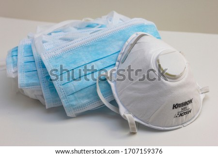 Bratislava/ Slovakia - April 18 2020: Corona virus prevetion face mask protection N95 respirator and medical surgical masks in hospital #1707159376