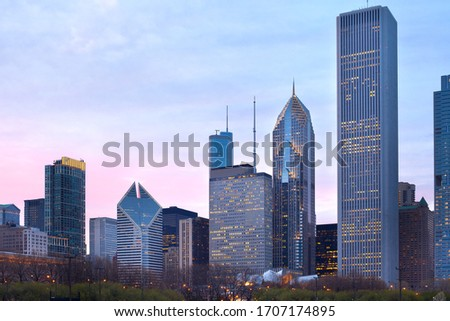 Downtown city skyline, Chicago, Illinois, USA