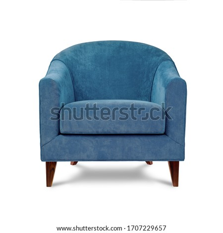 Classic armchair art deco style in blue velvet with wooden legs isolated on white background. Front view, grey shadow. Series of furniture #1707229657