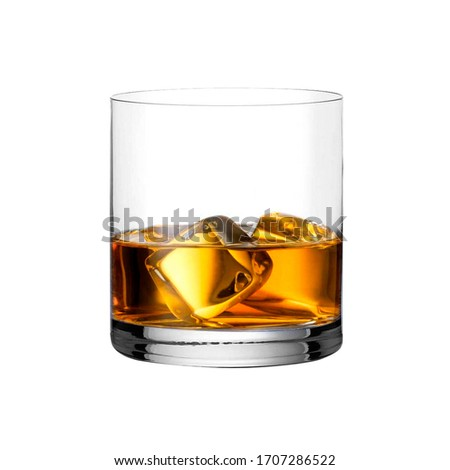glass of whiskey with ice isolated on a white background #1707286522