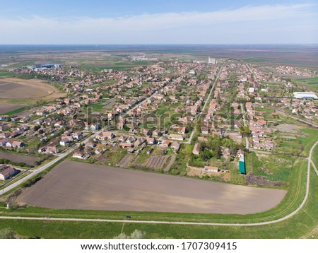 Panorama of Secanj village. Aerial photography. #1707309415