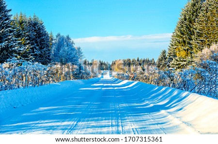 Winter forest snow road view. Forest winter snow road. Winter road in snow forest. Snow road in winter forest #1707315361