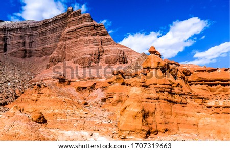 Red rock canyon mountain view. Sandstone at red rock canyon mountains. Mountain red rock canyon scene #1707319663