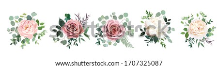 Dusty pink blush, white and creamy rose flowers vector design wedding bouquets. Eucalyptus, greenery. Floral pastel watercolor style. Blooming spring floral card. Elements are isolated and editable #1707325087