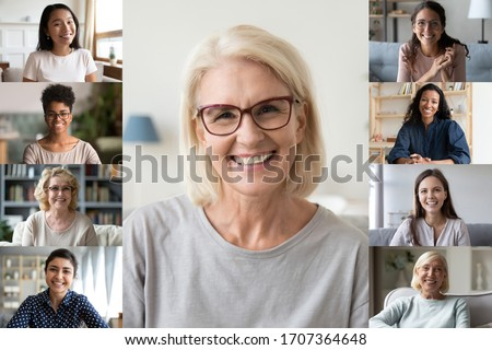 Different ethnicity and age women photo collage webcam view. Senior and young ladies make video call chatting with friends using video conference application, modern tech easy convenient usage concept Royalty-Free Stock Photo #1707364648