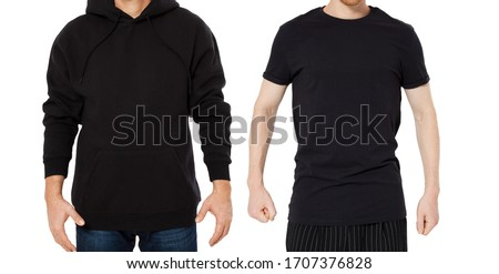 Black Hoody T-shirt mock up set isolated front view, man in black hoody and man in t shirt mockup set isolated on white background. Two guys in empty black hoodie and tshirt collage  #1707376828