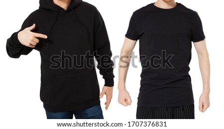 Black Hoody T-shirt mock up set isolated front view, man in black hoody and man in t shirt mockup set isolated on white background. Two guys in empty black hoodie and tshirt collage  #1707376831