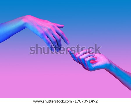 Two hand in a pop art collage style in neon bold colors. Modern psychedelic creative element with human palm for posters, banners, wallpaper. Copy space for text. Magazine style. Zine culture. #1707391492