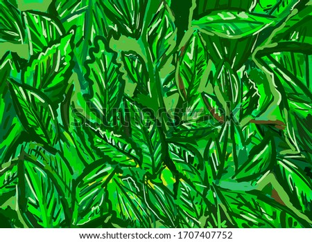 Green leaves for the backdrop. Background consists of different green flowers. The concept of spring / summer. #1707407752