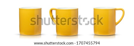 Set Yellow mug ceramic empty blank for decoration on table in coffee shop or office and put pencil,pen,ruler. clipping path. have shadow Reflection #1707455794