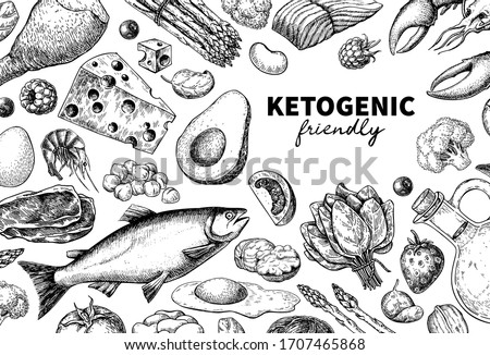 Keto diet vector drawing. Ketogenic hand drawn template. Vintage engraved sketch. Organic food - seafood, vegetables, eggs, meat, nuts. Healthy eating concept, paleo products, label, banner, packaging #1707465868