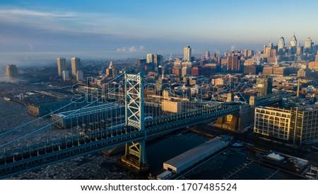 Drone of Foggy Sunrise Philadelphia