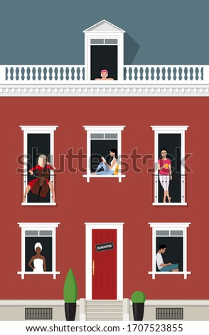 """Facade of the house with People looking out of the Windows. Concept of """"stay at home"""", self-Isolation, Quarantine and prevention of coronavirus (COVID-19). Vector Stock flat illustration #1707523855"""