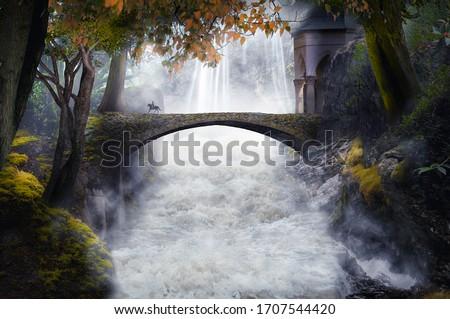 fantasy river with old stone bridge Royalty-Free Stock Photo #1707544420