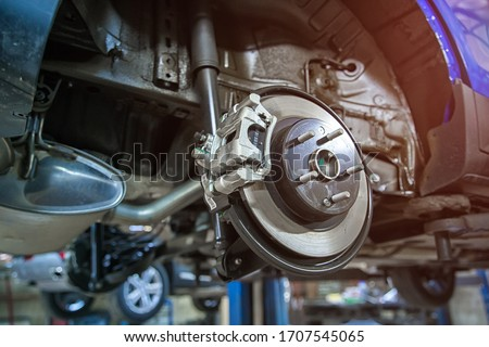 brake mechanism of the car wheel at shallow depth of field Royalty-Free Stock Photo #1707545065