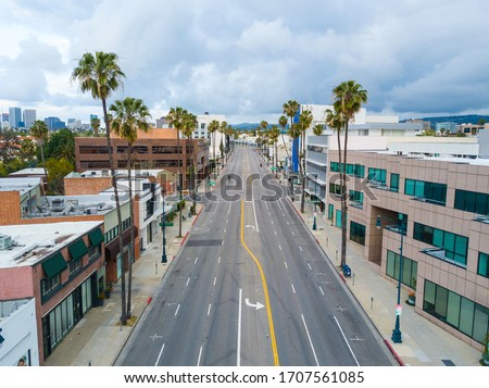 Los Angeles during quarantine from a Drone view - the COVID-19 in April 2020 left the streets empty and the air clean in LA.
