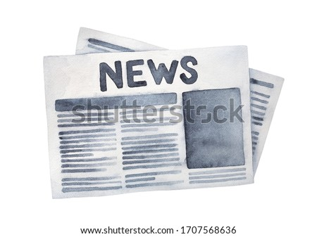 "Black and white water color illustration of folded grunge newspaper with big title ""News"". Hand painted watercolour sketchy drawing, cutout clip art element for design, card, print, banner, web site."