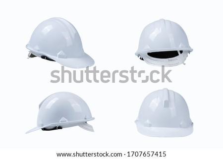 set of white helmet, construction tools and protection