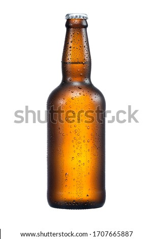 500ml brown beer bottle with drops isolated without shadow on a white background with work path Royalty-Free Stock Photo #1707665887