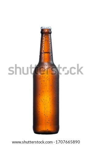500ml brown beer bottle with drops isolated without shadow on a white background with work path Royalty-Free Stock Photo #1707665890