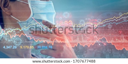 Businessman with mask, Analysis corona virus economic impact, crisis and economic financial conditions in the global due sinks stock exchanges, Stocks fall, Effects of outbreak and pandemic covid-19 #1707677488