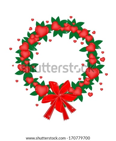 A Beautiful Valentine Wreath of Red Heart and Green Leave with Lovely Red Bows, Sign for Valentine Day Celebration.  #170779700