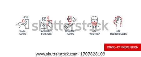 Prevention line icons set isolated on white. outline symbols Coronavirus Covid 19 pandemic banner. Quality design elements mask, gloves, distance, wash disinfect hands, stay home with editable Stroke #1707828109
