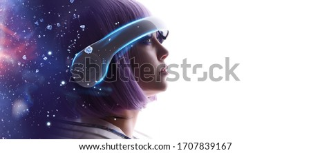 Beautiful woman with purple hair in futuristic costume over white background. Girl in glasses of virtual reality. Augmented reality, game, future technology, AI concept. VR. Blue, violet neon light. #1707839167