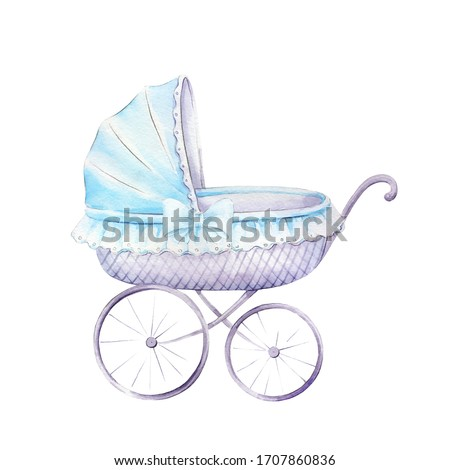 Blue stroller for baby boy.Watercolor hand drawn illustrations isolated on white background.