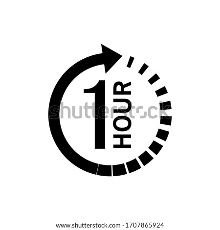 One hour arrow icon on white background. Stock vector #1707865924