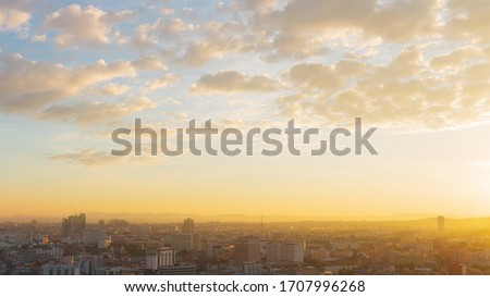 The Pattaya city in the morning with golden light. The morning sun of Pattaya city. #1707996268