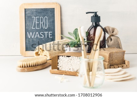Zero waste concept. Eco-friendly bathroom accessories. Sustainable lifestyle Royalty-Free Stock Photo #1708012906