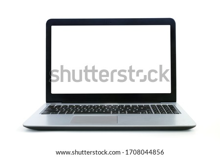 The front view of the laptop is a blank white screen on a white background which has a copyspace for inserting text or images. #1708044856