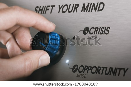 Man turning a knob to turn crisis into an opportunity. Composite image between a hand photography and a 3D background. #1708048189