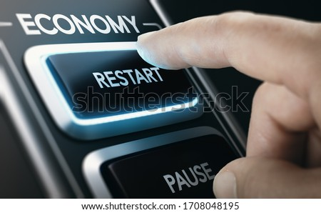 Man pressing a button to restart national economy after crisis. Composite image between a hand photography and a 3D background. #1708048195