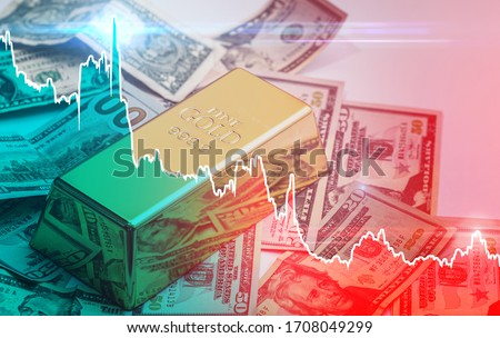 Falling diagram showing changes in price of gold. Concept of inflation, price changes, or forex reserves exhaustion. Royalty-Free Stock Photo #1708049299