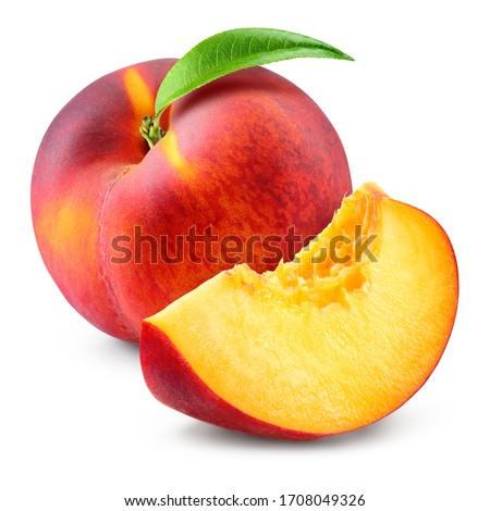 Peach isolate. Peach slice and whole with leaf on white. Peaches. Full depth of field.  #1708049326