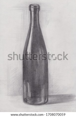 Art studio school pencil hatching tonal drawing sketch of a wine glass bottle. Art education outline shading sequence example tutorial step by step. Lines and strokes
