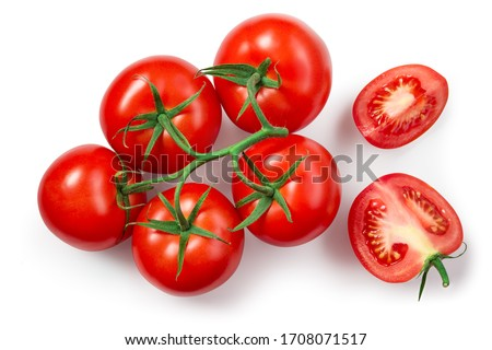 Tomatoes isolated. Tomato branch on white. Tomato with clipping path. Top view tomatoes. Tomato flat lay. Royalty-Free Stock Photo #1708071517