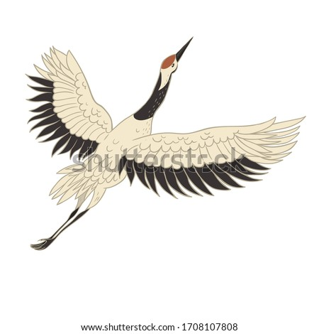 Japanese crane bird isolate on a white background. Vector graphics. Royalty-Free Stock Photo #1708107808
