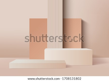 3d podium minimal scene with geometrical product. Background vector 3d cream colors rendering with podium. Abstract background. Scene to show cosmetic products. background 3d podium product render Royalty-Free Stock Photo #1708131802