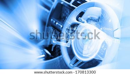 Digital image of car steering wheel with icons #170813300