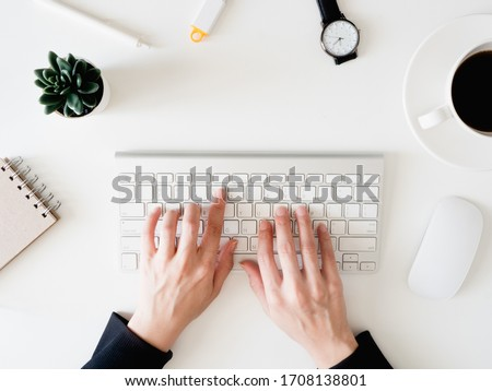 top view of work from home concept with keyboard, calculator and notebook on white background, graphic designer, Creative Designer concept. #1708138801